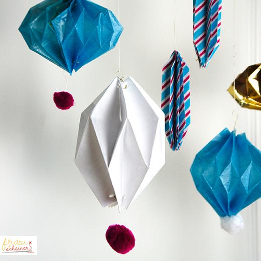 Plissee Anhaenger, Origami Weihnachtsdeko, Papier Falten Aus Alu Folie,  Tyvek, Transparentpapier Und