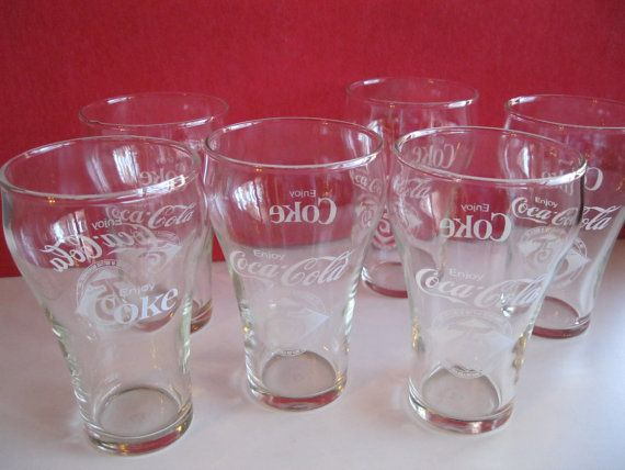 Coca Cola 75th Anniversary Glasses Set of 6, Vintage Coca-Cola Glasses   **** Please buy something from my friends Etsy store. She could use the money. Her and her husband are raising 5 unwanted rescue dogs including a 3 legged Chiahuahua. Please help.