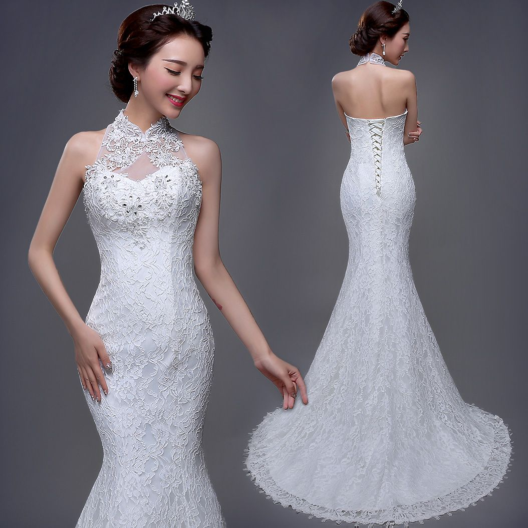 Wedding dress with collar  Mandarin collar white lace mermaid halter trailing wedding dress