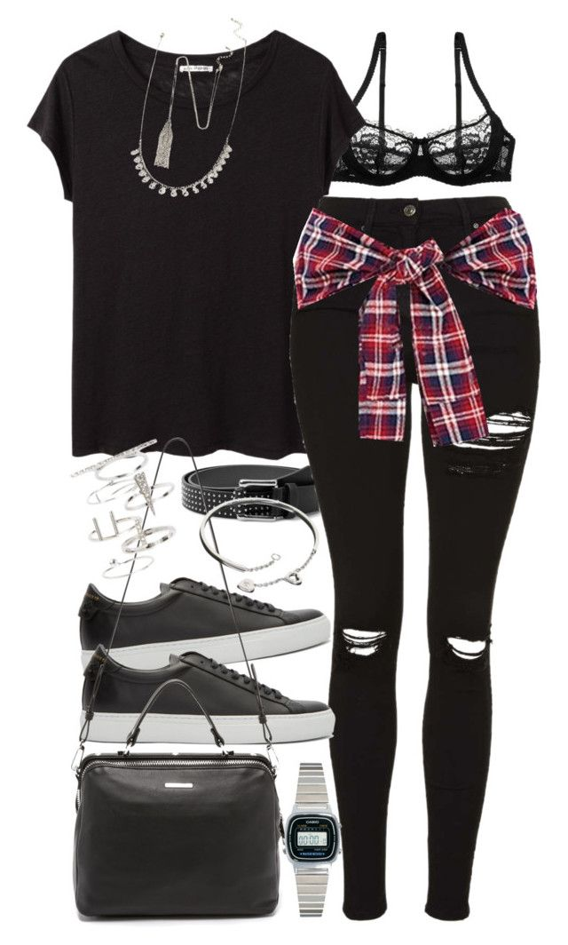 U0026quot;Outfit with ripped black jeans and a check flannel shirtu0026quot; by ferned on Polyvore featuring Acne ...