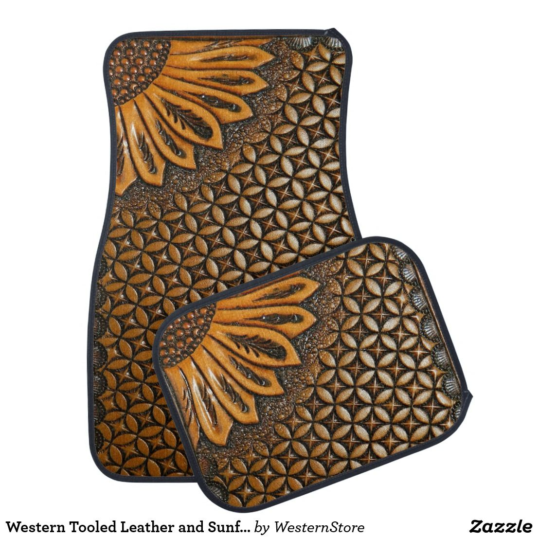 Western tooled leather and sunflower design car mat futuretruck