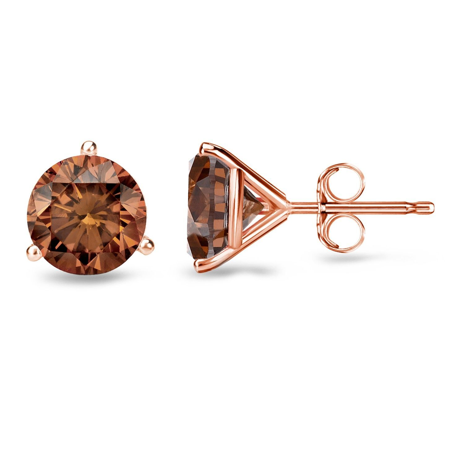 Auriya 14k Rose Gold 1 2ct to 2ct TDW Martini set Brown Diamond Stud