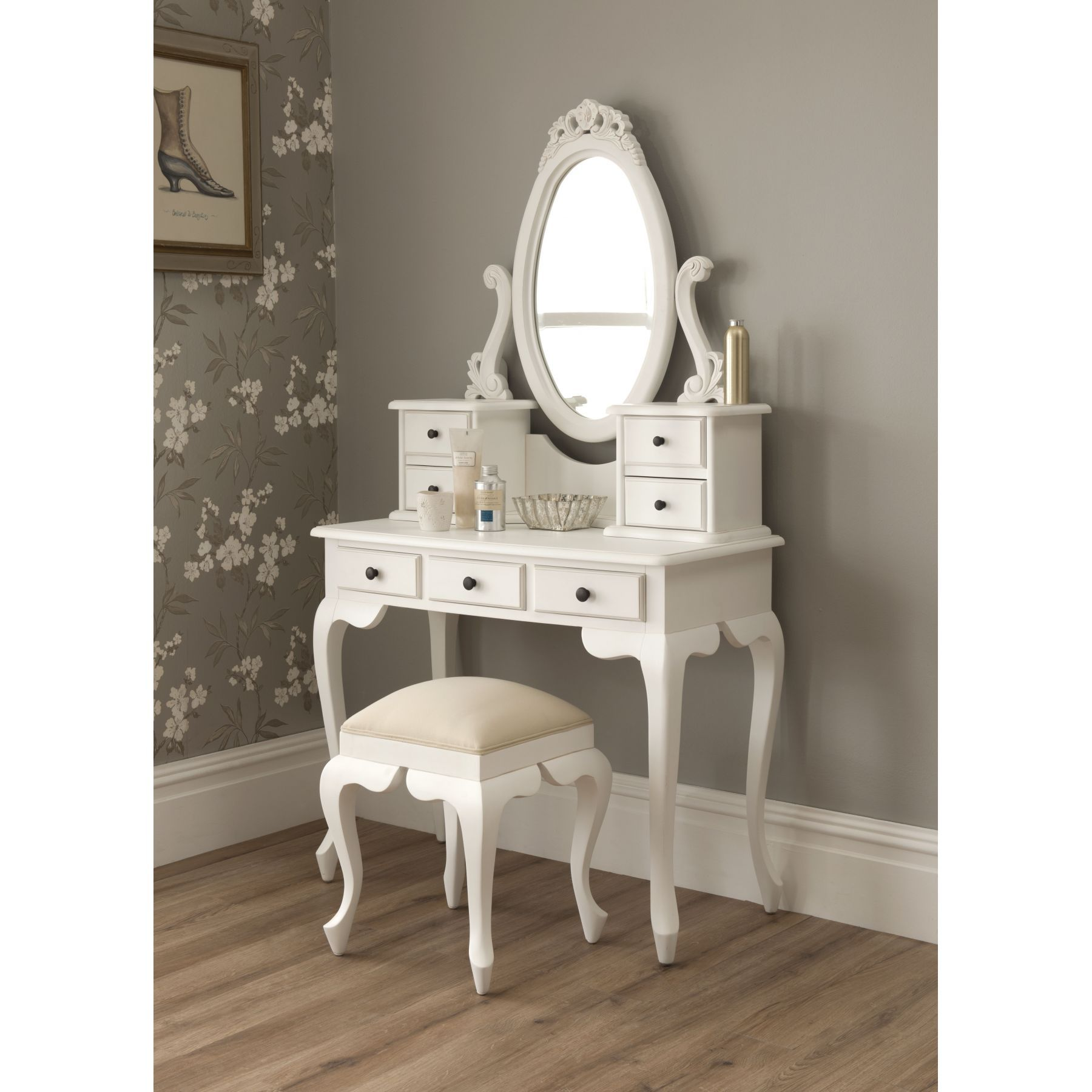 Rustic White Wooden Makeup Vanity Bedroom, Enchanting