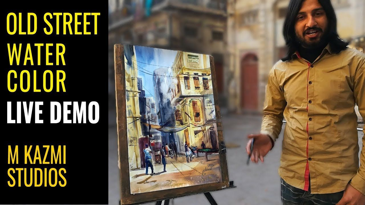 Easy Watercolor Old Street Painting Tutorial Urdu Hindi M Kazmi