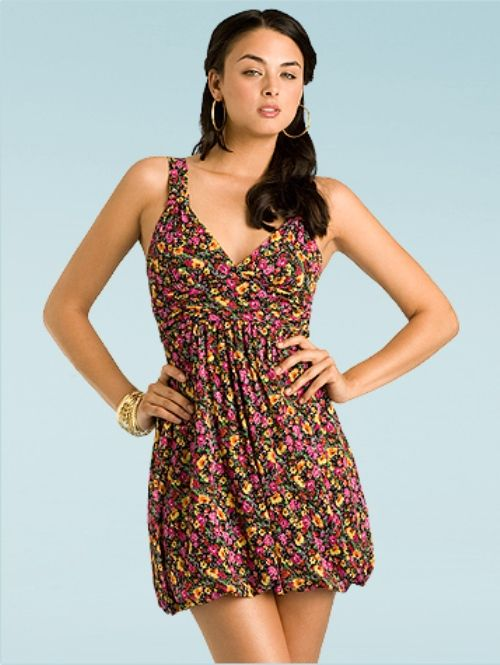Summer mini-dress with floral patterns