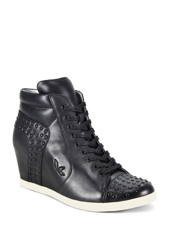 Koolaburra by Ugg Kenny Black Leather Studded Wedge Sneaker