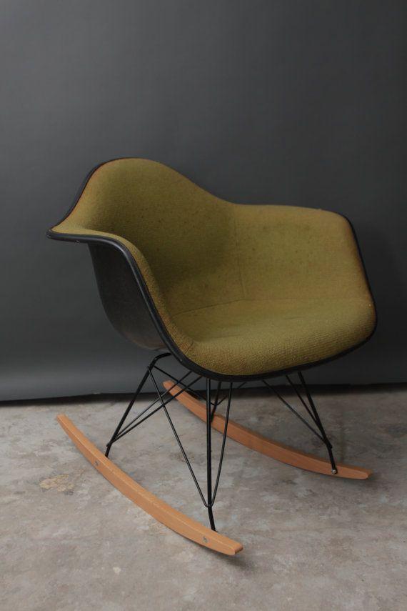 Vintage Herman Miller Eames Fabric Rocking Chair   Mid Century Modern    Green Fiberglass Rocker