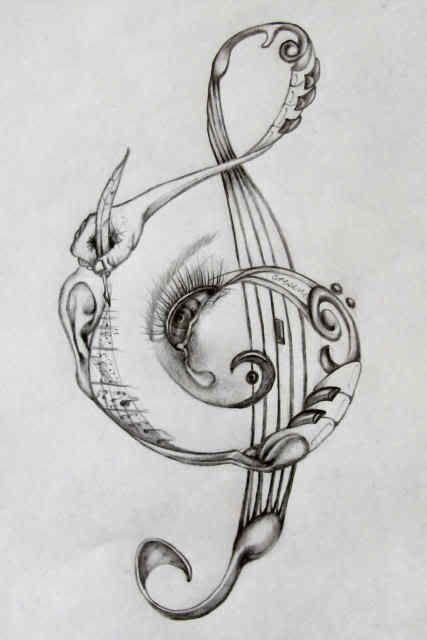 Treble clef design (in color) on right ribs/hip. #trebleclef