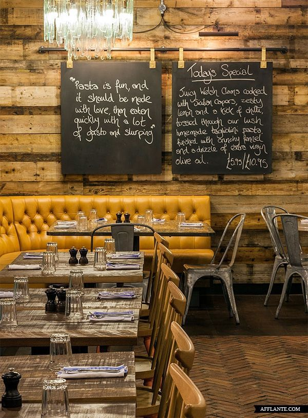 Rustic tufted banquette chalkboards tolix madness