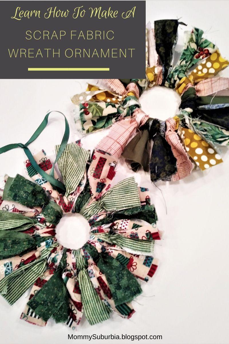 How To Make A Rustic Farmhouse Fabric Christmas Wreath Ornament