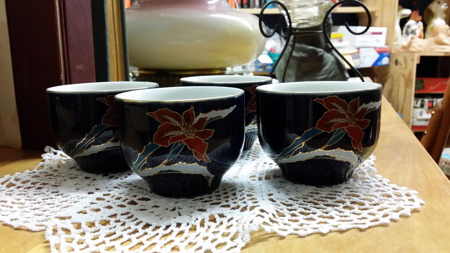 Shaddy Mino Japan Vintage Tea/Sake Cups Set of Four by BlingAndBlueJeans on Etsy