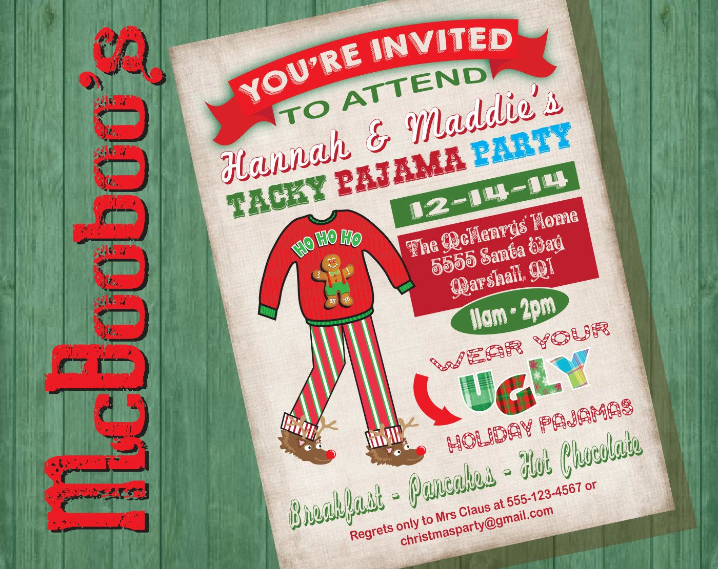 972e47cdd3 Ugly Tacky Christmas Pajama Party Invitations on an antique background by  McBooboos on Etsy Pigiama Natalizi