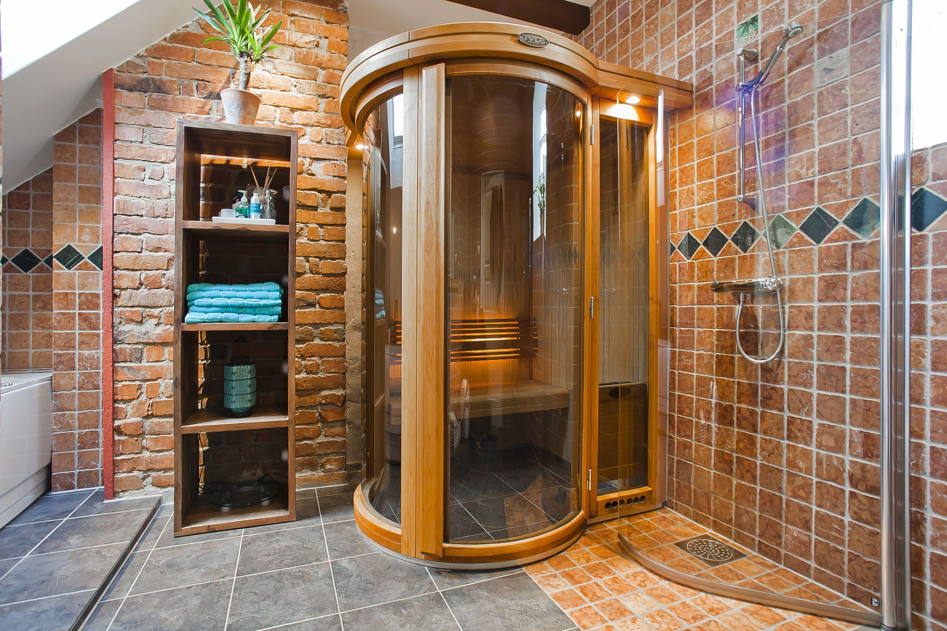 Bathroom Sauna, Jacuzzi And Shower Brick Walls