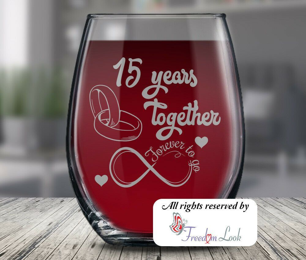 15th wedding anniversary wine glass husband wife