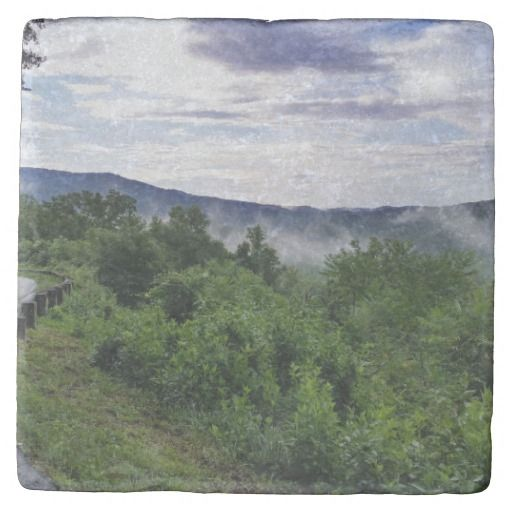 Misty Mountains The Great Smoky Mountains Stone Coaster