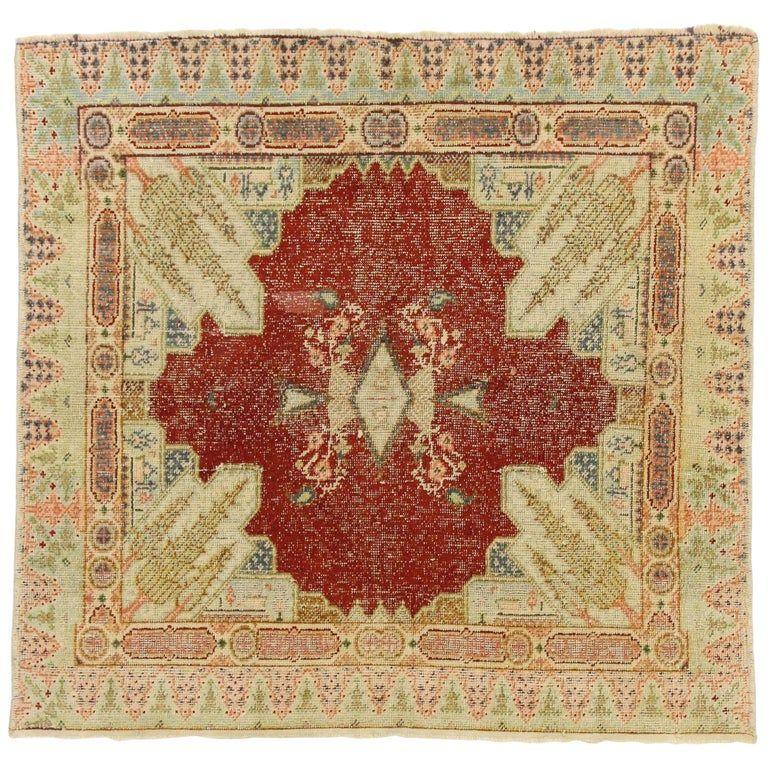 Distressed Vintage Turkish Sivas Silk Rug With Romantic French Art