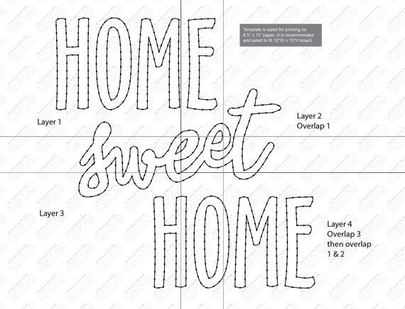 Home sweet home string kunst vorlage string art string kunst vorlagen basteln und nagelbilder - Fadenkunst vorlagen ...