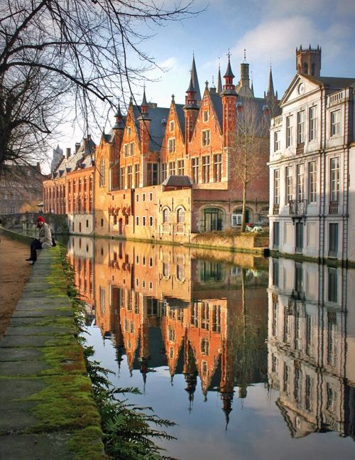 Brugges, Belgium.  Picturesque canals, Mussels & fries, hand made lace.
