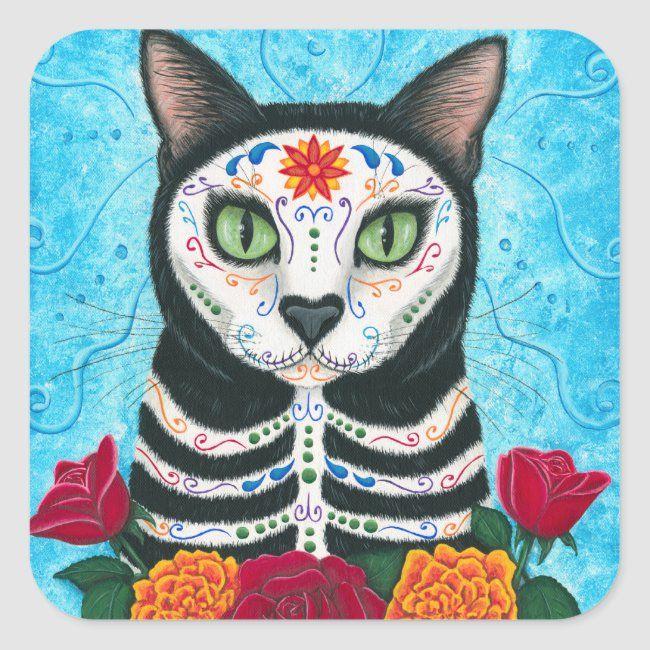 Day of the Dead Cat Sugar Skull Art Sticker   Zazzle.com