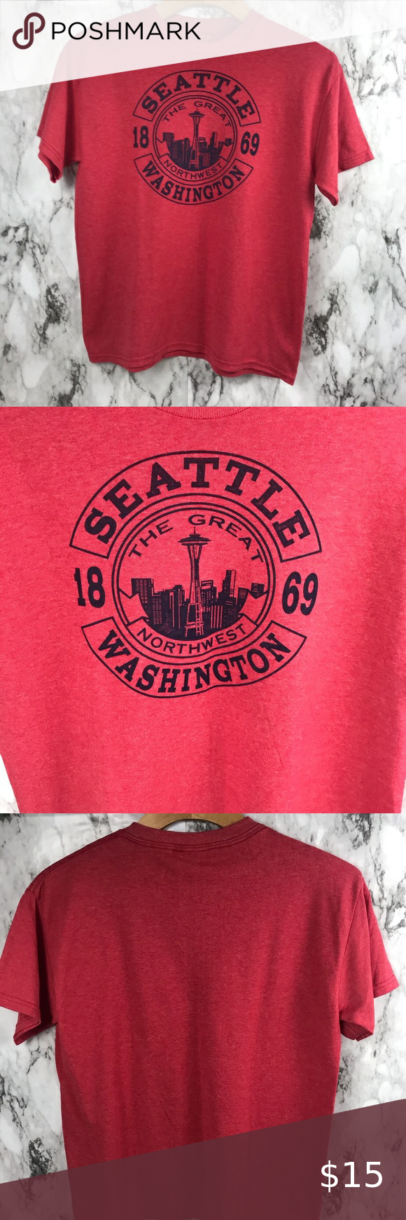 """Seattle Washington Graphic Shirt Top Small Size tag missing but fits a Small Pit to pit 19"""" Length is 23"""" #003 Tops Tees - Short Sleeve"""