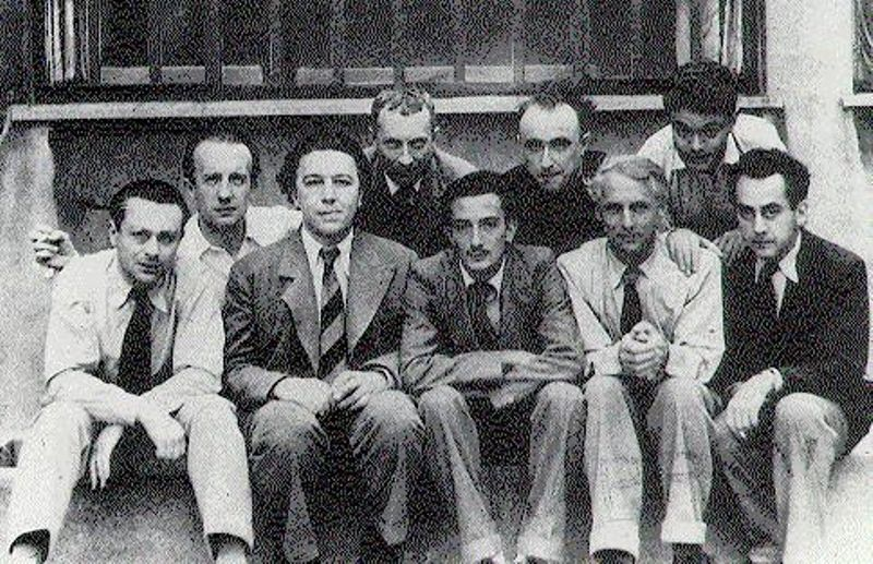The surrealist group in Paris, circa 1930.     From left to right Tristan Tzara, Paul Éluard, Andre Breton, Hans Arp, Salvador Dali, Yves Tanguy, Max Ernst, Rene Crevel, Man Ray.