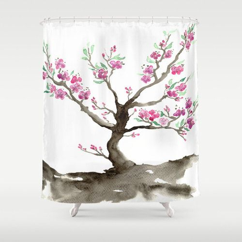 Cherry Blossom Shower Curtain Fine Art Sakura Painting   Artistic Bathroom    Modern Vibrant Bathroom Decor