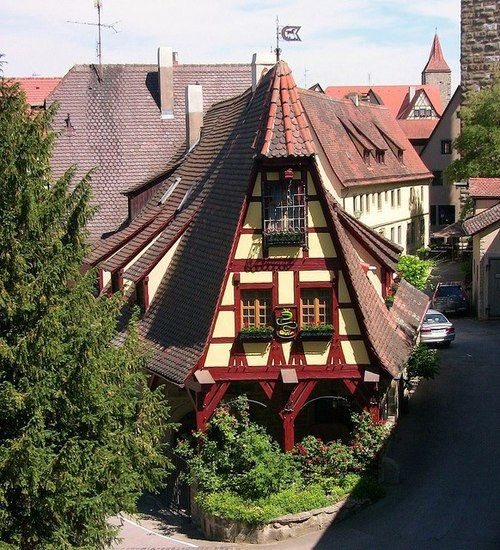 Lovely Houses In Rothenburg Ob Der Tauber, Germany