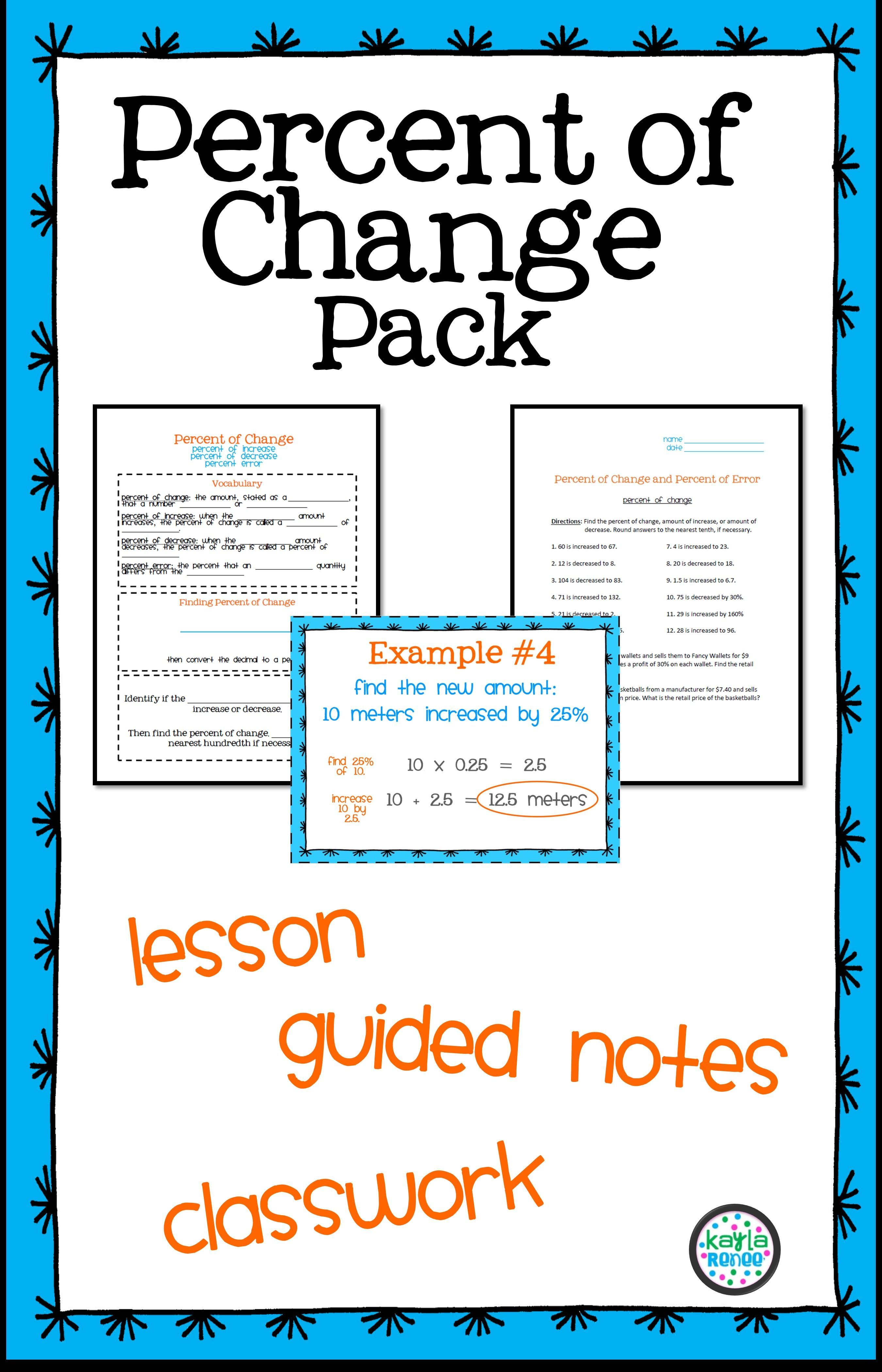 Percent Of Change Pack 7 Rp 3 Middle School Math Resources Percent Of Change Middle School Math