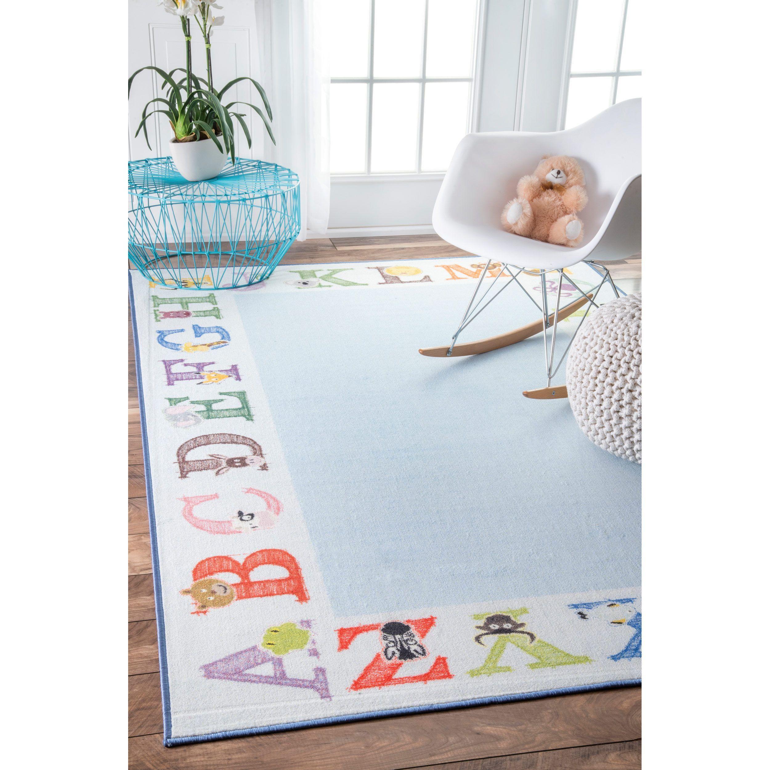 Nuloom Alphabet Border Kids Nursery Baby Rug