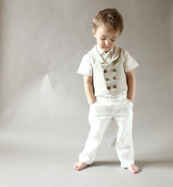 Baby Boy Pants Clothes Toddler Boys Linen 1st Birthday Outfit Ring Bearer Pa