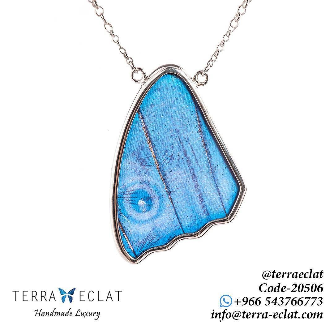 Real Butterfly Wing Morpho Didius J9c Wing Shaped Necklaces 30mm Code 20506 Price 590 السعر قبل التخفيض Ge Unique Gemstones Jewelry Art Real Butterfly Wings