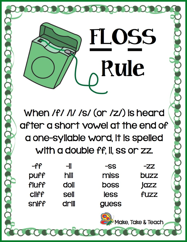 """Memory aids are often used to help students remember certain spelling rules.The FLoSS rule is one of the first spelling rules taught to our first and second grade students to help them understand whento double the final """"f"""", """"l"""" and """"s"""" consonants at the end ofcertain words.  The word """"floss"""" actually follows the FLoSS …"""
