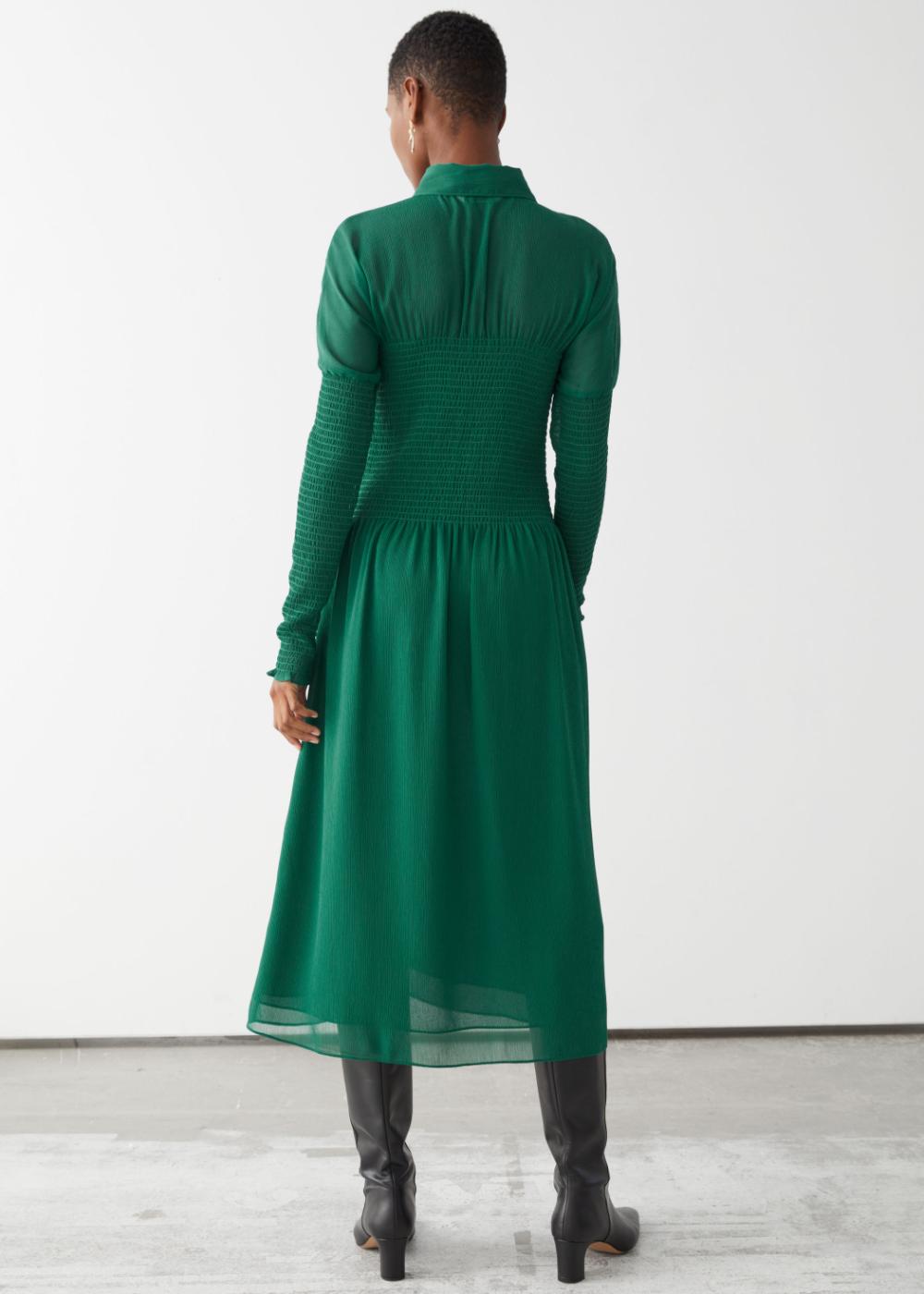 Smocked Button Up Midi Dress Midi Dress Dresses Green Midi Dress [ 1400 x 1000 Pixel ]