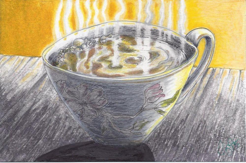 NFAC Tea Time Zen Break Cherry Blossom Cup Original 4 X 6 cdeeryart #Asian