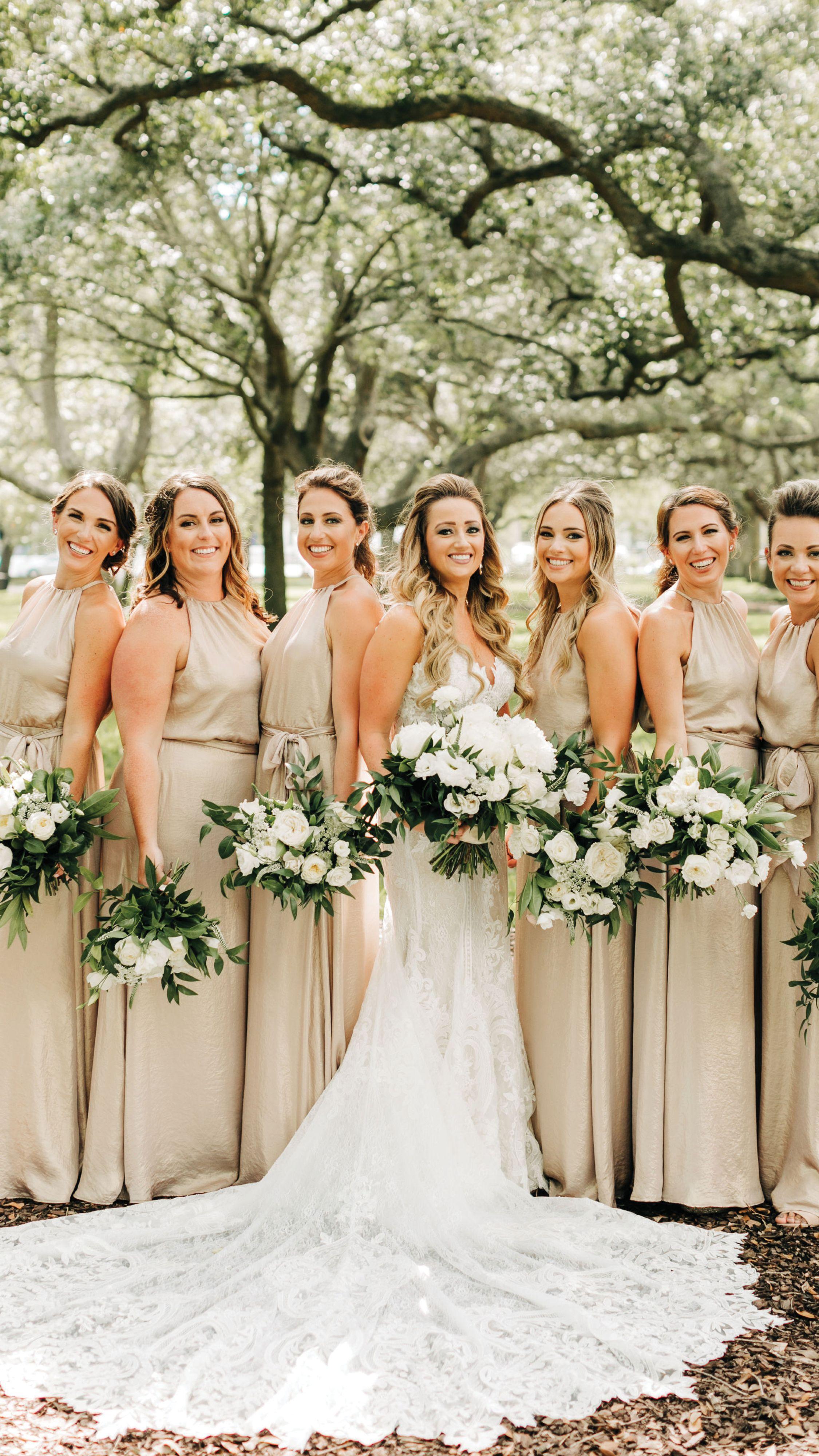 Champagne And Greenery Make This Charleston Wedding Shine Champagne Wedding Colors Castle Wedding Dress Champagne Bridesmaid Dresses [ 4000 x 2250 Pixel ]