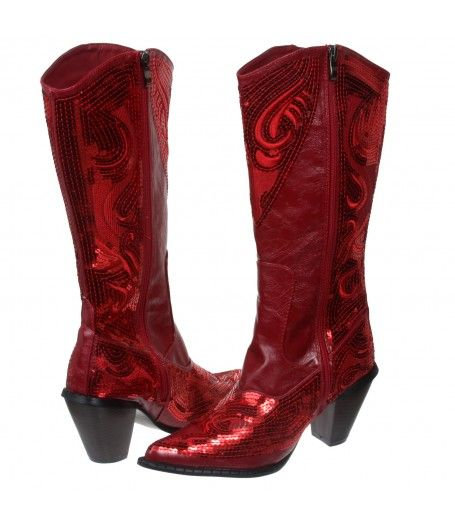 Great for Valentines Day  Western Mid-Calf Sequin Beaded Embroidered Cowgirl Boot-Red  $129.99