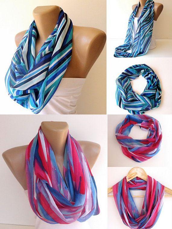 2 infinity loop women scarveschevron scarfneon colorspink by seno, $36.00