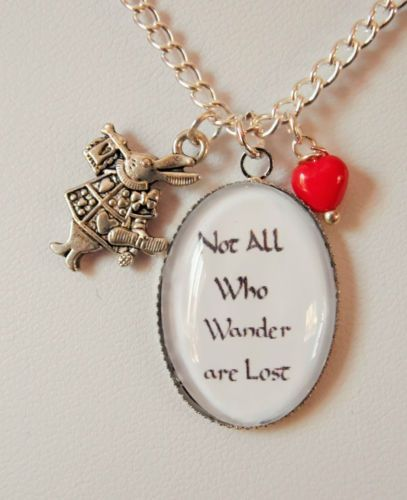 ALICE-in-WONDERLAND-theme-CHAIN-silver-plated-GLASS-oval-necklace-RABBIT-charm