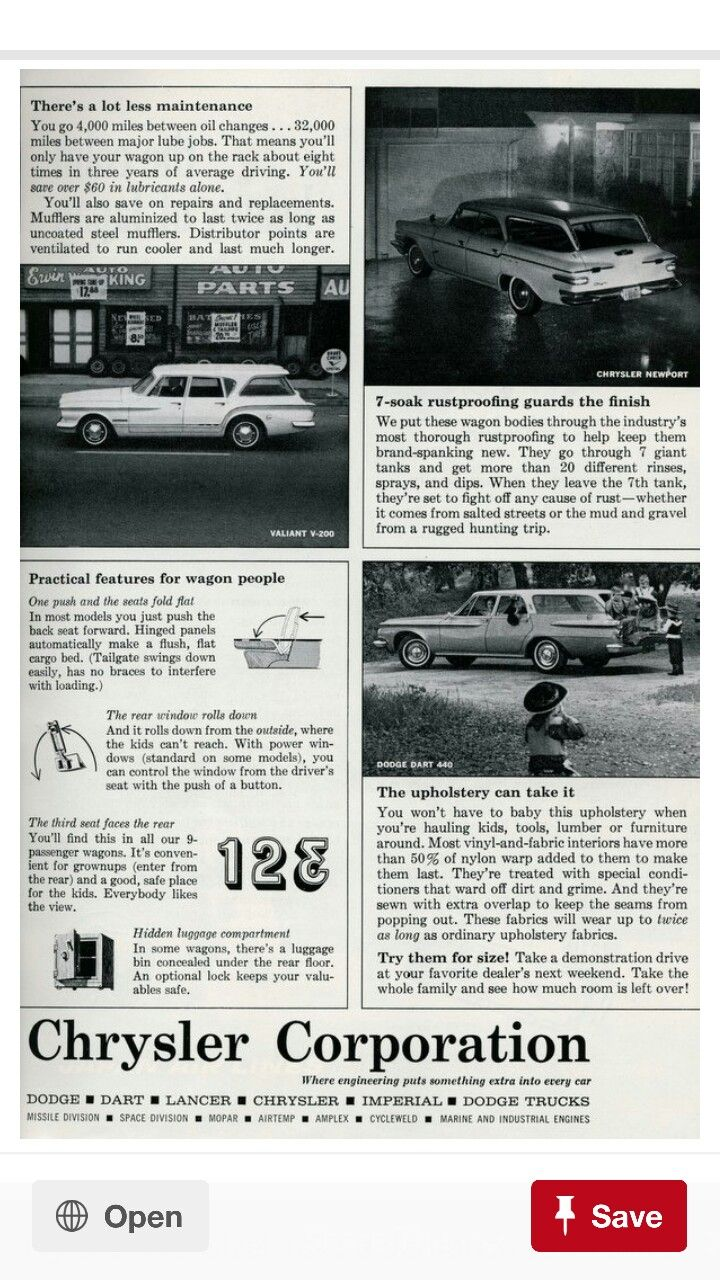 1962 Chrysler Corporation Wagon Merits Part 2 Chrysler Town And Country Wagon Car Ads