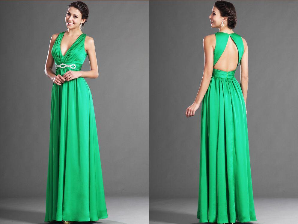 Robe de soirée longue, crêpe de satin vert émeraude avec un decolleté V et  une