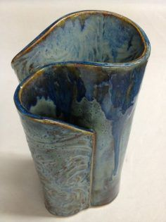 Pottery Wave Vase with 3 openings for fresh flowers. Description from #potteryclasses