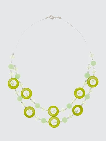 For the gal who loves green, we've got this gorgeous double-row necklace, with wire lined with a blend of round stones and faceted beads. It's a great way to add a pop of colour to a neutral or all-white outfit.7010773-2434