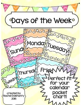 Days Of The Week Calendar Cards Calendar Weekly Calendar
