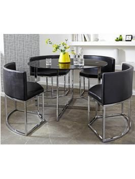 Circular Metal Hideaway Dining Table and Chairs Set from littlewoods.com. Like a transformer this circular table with hideaway chairs is an ideal ...  sc 1 st  Pinterest & Circular Metal Hideaway Dining Table and Chairs Set from littlewoods ...