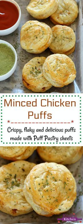 Minced Chicken Puffs, Puff pastry snack - Ruchiskitchen