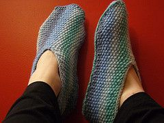 Simple slippers in seed stitch for baby or adult.