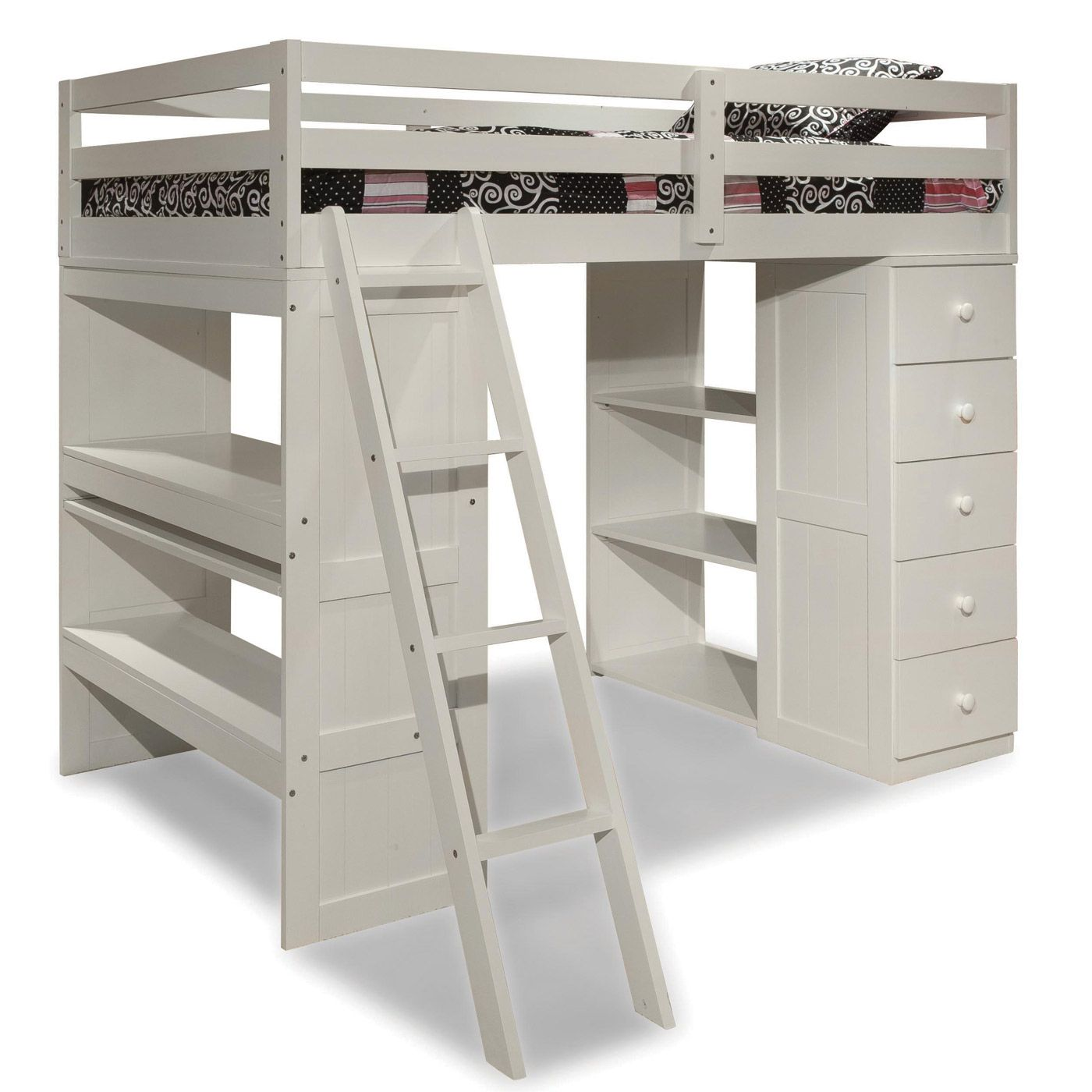 Wooden loft bed with desk  White Skyway Twin Loft Bed with Desk and Storage Tower by Canwood