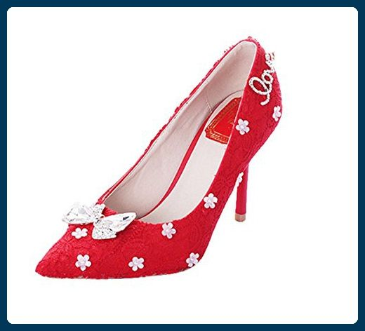 Damen Durchgängies Plateau Sandalen mit Keilabsatz, Rot - Red-7cm Heel - Größe: 36 Miyoopark