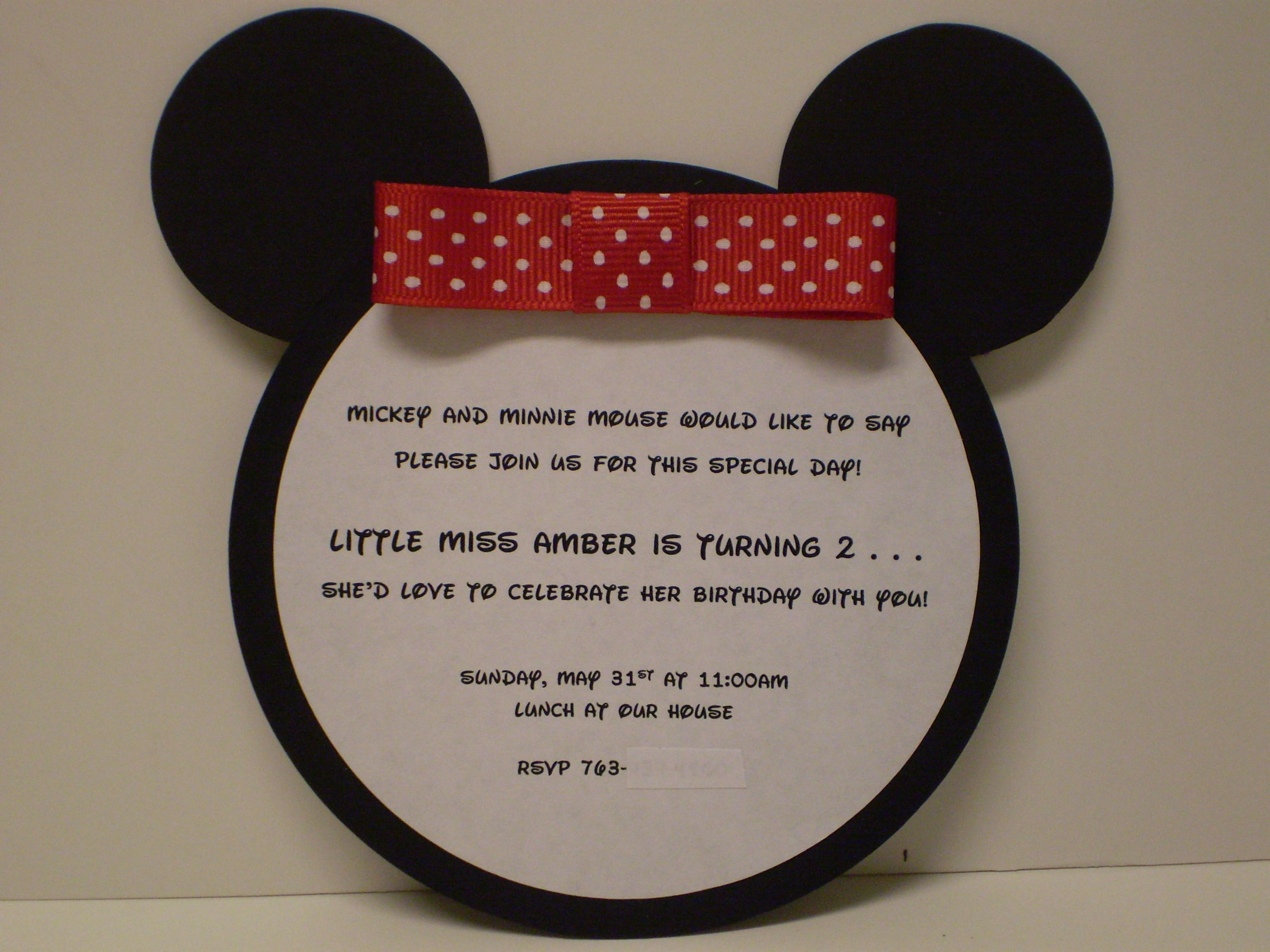 Minnie Mouse Birthday Invitation | Girl Birthday Ideas | Pinterest ...