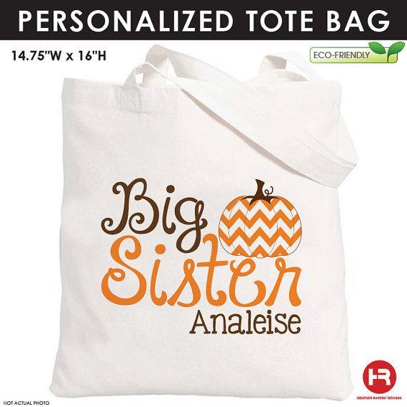 Chevron Pumpkin Big Sister Tote Bag - Personalized Pumpkin Bag - Personalized Halloween Bag on Etsy, $14.00